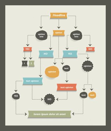 Flow chart diagram, scheme. Infographic algorithm