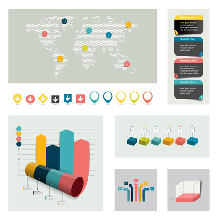 Big set of infographics elements. Charts, diagrams, icons and pointer. Vector. Vector