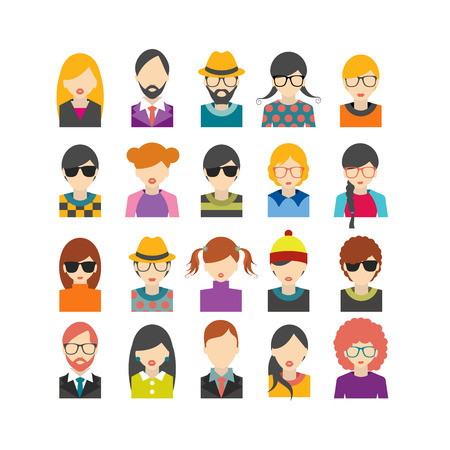 male face profile: Big set of avatars profile pictures flat icons. Vector illustration.