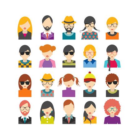 Große Reihe von Avataren Profil Bilder flachen Icons. Vektor-Illustration. Illustration