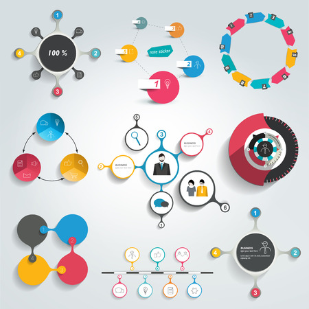 schemes: Collection of colorful round info graphics diagrams. Circle schemes.