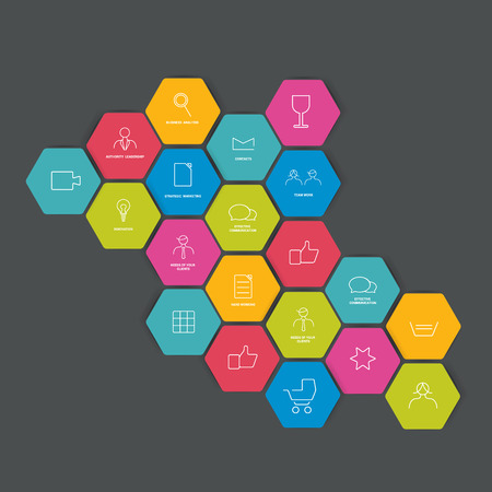 d data: Set of lined icon. Hexagonal shapes. Vector. Illustration