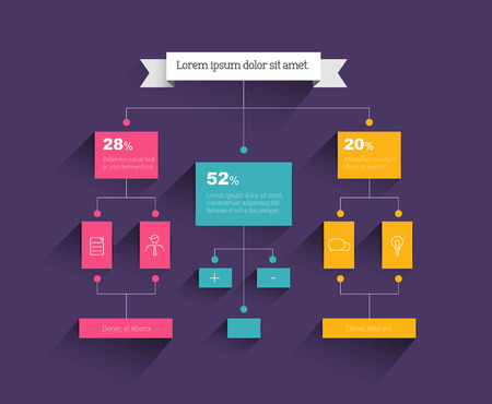 corporate hierarchy: Flow chart. Infographic element. Vector flat design. Illustration