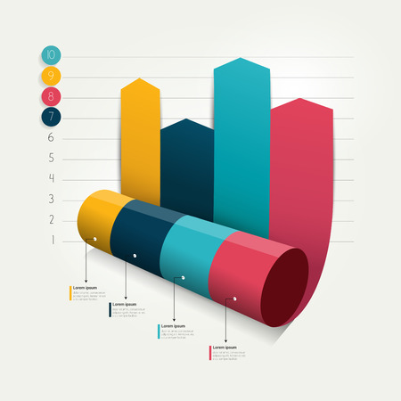 color chart: Column arrow rolling 3D chart.