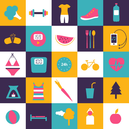 medicine man: Flat icon. Slim and fitness icon collection. Vector shapes. Illustration