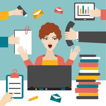 女性秘書のハード作業。忙しいビジネスの女性。 写真素材 - 36294865