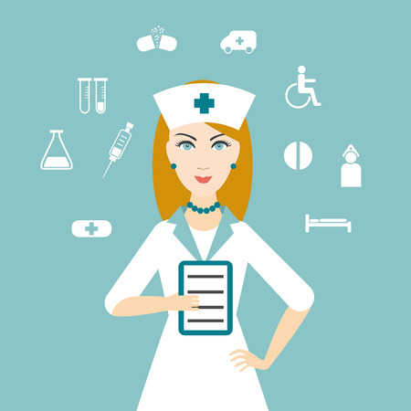 Nurse with medical icons. Flat design.