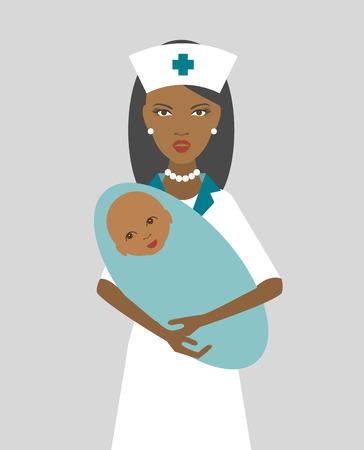 Zwarte verpleegster die pasgeboren kind. Platte design. Vector.