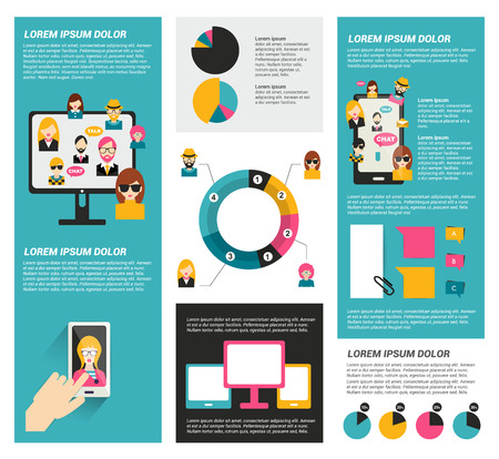 web buttons set: Social network infographic. Flat elements. Vector. Illustration