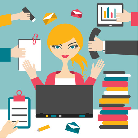 Woman secretary hard working. Busy business woman.  イラスト・ベクター素材