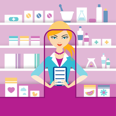 druggist: Young blonde pharmacy chemist girl standing in drugstore. Flat vector.