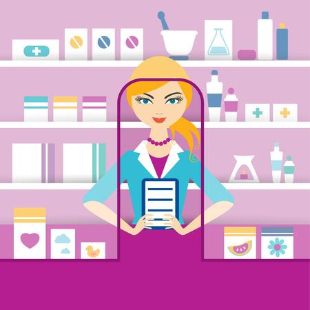 drugstore: Young blonde pharmacy chemist girl standing in drugstore. Flat vector.
