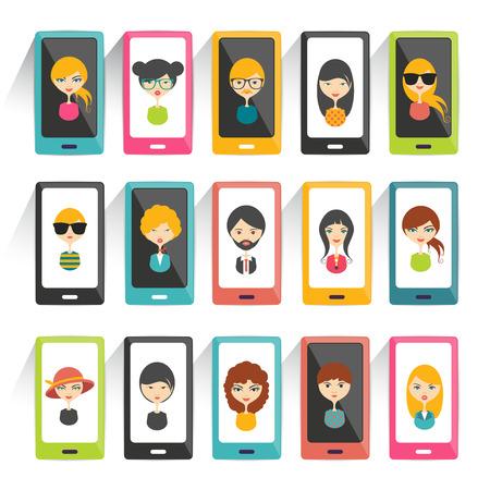 Conjunto de avatares cabezas de perfil fotos iconos planos. Vector estilizada ilustración.