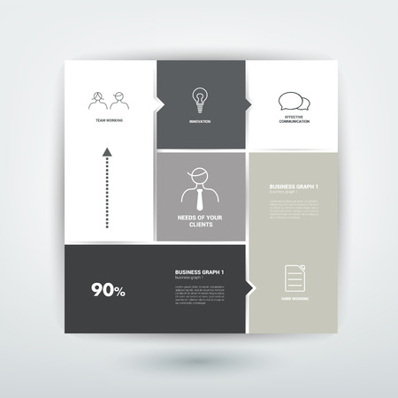 tab: Conceptual flat template. Simply tab, scheme for infographic.