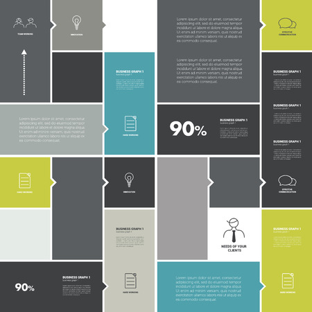 blue banner: Conceptual flat template. Simply tab, scheme for infographic.