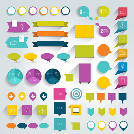rectangle button: Collections of infographics flat design elements. Vector illustration. Illustration