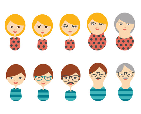 growing up: Profile heads. Men, woman aging. Generation growing up icon. Men, woman of all ages period. Illustration