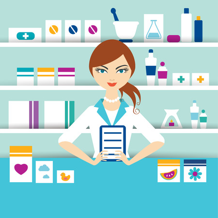 pharmacy store: Young pharmacy chemist girl standing in drugstore. Flat vector.