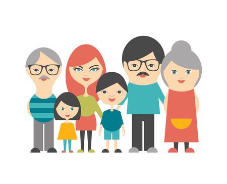 multi: Multi generation family. Parents, children and grandparents. Flat design. Illustration