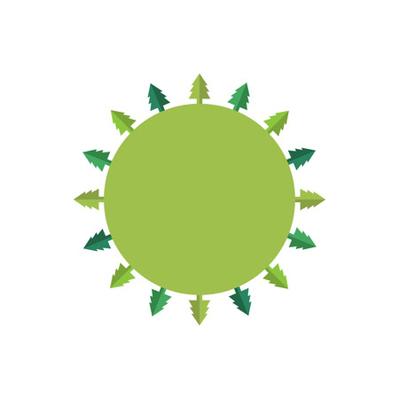 and organic: Ecology green tree concept. Flat company element. Vector shape.