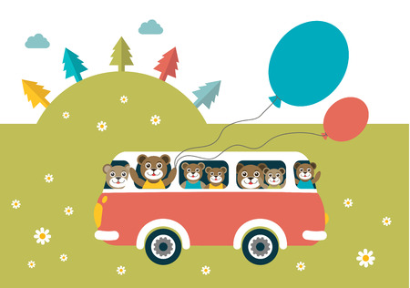 family van: Kids theme. Bus with happy bears. Happy birthday child card. Vector. Illustration