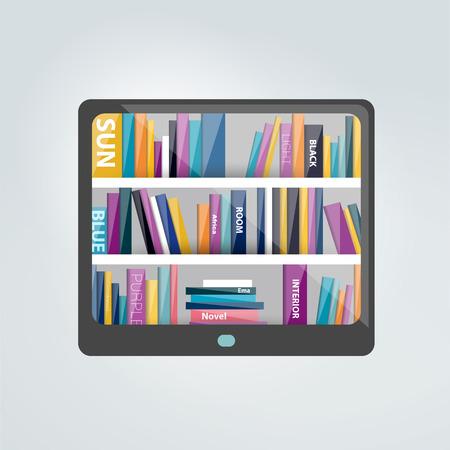 ebook reader: E-book reader with book shelf. Vector flat illustration.