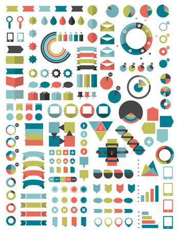 schemes: Collections of infographics flat design template. Various color schemes, boxes, speech bubbles, charts. Vector illustration.