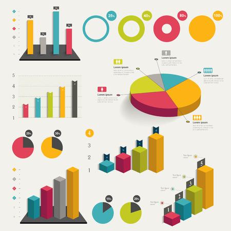 grafica de pastel: Conjunto de negocio plana, diseño gráfico 3D. Gráficos Infografía. Vectores