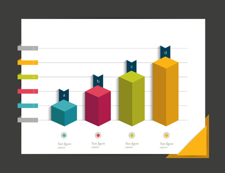 colour chart: Chart for infographic. Cube column chart.