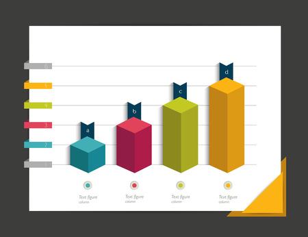 Gráfico de infografía. Gráfico de columnas Cube.