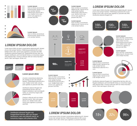 typography design: Big set of flat infographic elements. Layout template. Vector.