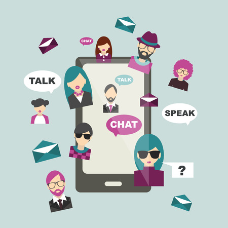 mobile communication: People chat global communication. Social media illustration. Flat mobile concept. Vector. Illustration