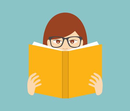 schooldays: Girl reading a book. Flat vector.