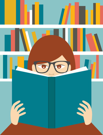 author: Girl reading a book. Flat vector.