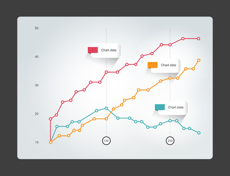 graph trend: Chart for infographics. Lined graph.