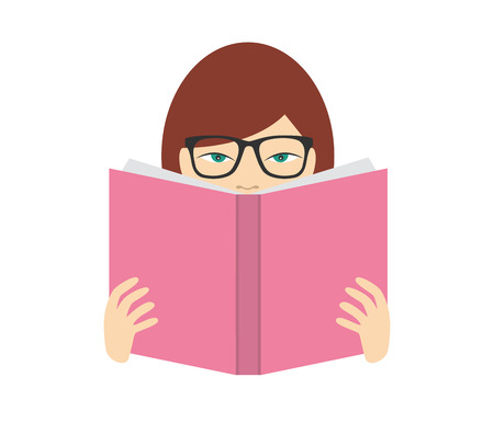 girl studying: Girl reading a book. Flat vector.