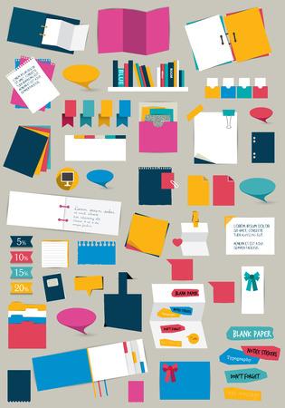 notice board: Big set of flat reminder stickers. Infographic set. Illustration