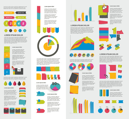 chart graph: Big set of flat infographic elements. Layout template. Vector.