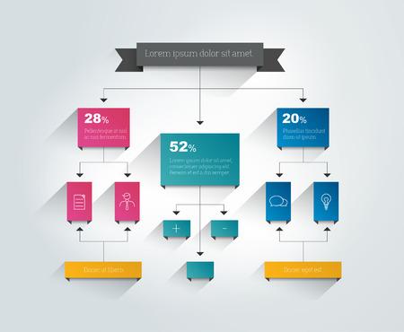 Infographics flowchart. Colored shadows scheme. Vector