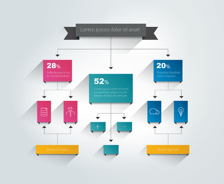 a structure: Infographics flowchart. Colored shadows scheme.