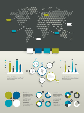 land mark: Infographics set. World map and brand elements.
