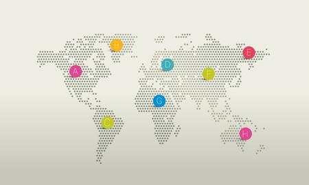 world location: Stylized world map. dot design.