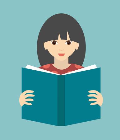 Girl reading a book. Flat vector. Vector