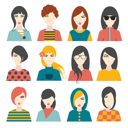 aplication: Woman avatar pictures. Flat portrait. Vector. Illustration