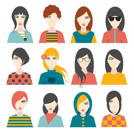 aplication: Woman avatar pictures. Flat portrait. Vector. Illustration