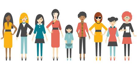 Group of flat women figure silhouette. People cartoon vector.