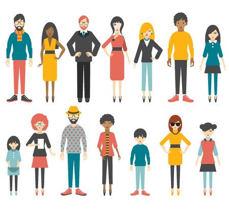 Groep van platte vrouwen erachter silhouet. Mensen cartoon vector. Stockfoto - 36930397