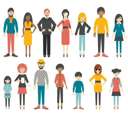 females: Group of flat women figure silhouette. People cartoon vector.