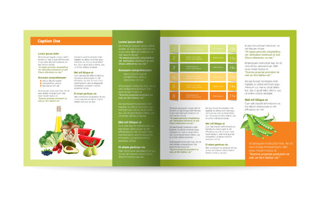 color pages: Brochure design. Magazine layout for infographics. Illustration