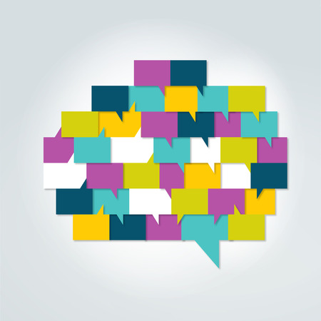 brain storm: Brain with speech bubbles. Colorful speak and dialog bubbles.